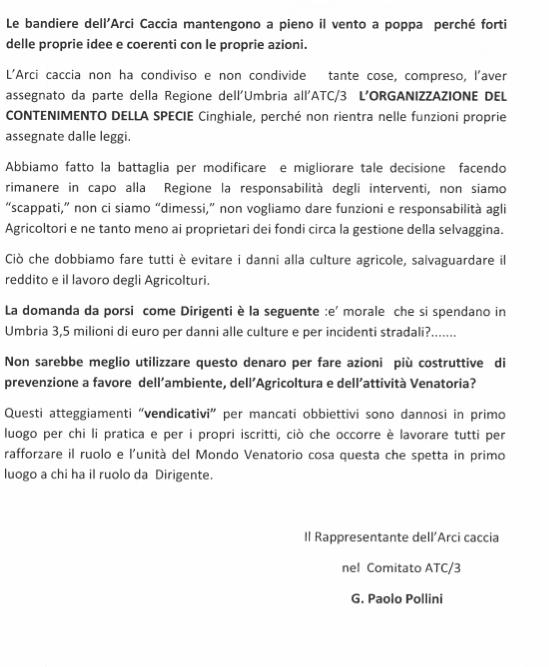 Comunicato Stampa del 02 agosto 2016 ARCI Caccia 2